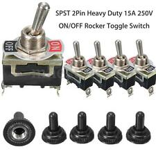 5Pcs SPST 2Pin Car Boat 15A 250V ON/OFF Rocker Toggle Switch + Waterproof Boot