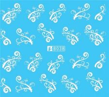 Nail Art Stickers Water Decals Transfers White Mono Intricate Design (B038)