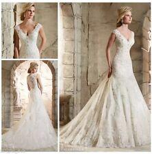 UK Charming White/ivory Lace Wedding Dress Bridal Gown 6-22