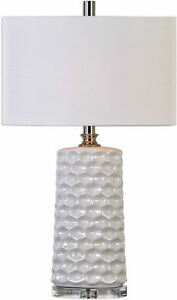 Sesia White Honeycomb Table Lamp by Uttermost #27142-1