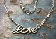 "Choker chain necklace 15"" Silver Script Love word inspiration"