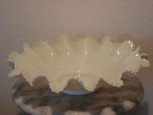 "Victorian 12"" White Opal Glass Vaseline Overlay Brides Basket Bowl"