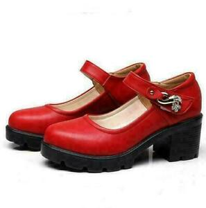 Womens Mary Jane Round Toe Pumps Buckle Strap Block Mid Heels College Party Shoe