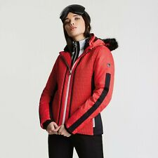 DARE2B Femmes Déclaration Rouge Veste Ski Tailles 8 - 16 Faux Fourrure Hotte