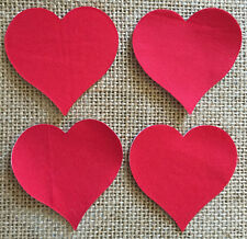 Pack of 4 Small Hearts - Fabric Iron on - Red- Bunting Making -Personalisation