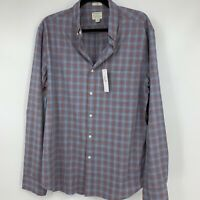 J Crew mens shirt large button down long sleeve plaid slim casual business NEW