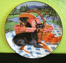 """Family Picnic"" Collectible Plate * Danbury Mint * Miniature Pinschers * Dogs"