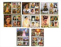 2011 FRIDA KAHLO PAINTINGS ART 8 SOUVENIR SHEETS MNH UNPERFORATED