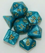Dungeons & Dragons Polyhedral Teal & Gold 7 Piece Pearl Dnd Dice Set for RPG