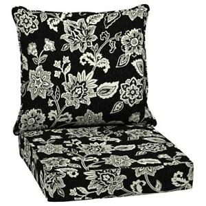 Arden Selections Outdoor Lounge Chair Cushion 24 x 24 Deep Seating 2-Piece Black
