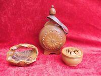 3 Hermosa, vieja Holzteile __ Caja con Tapa (Ciervo), Botella, Carcasa __ Madera