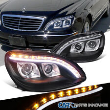 98-06 Benz W220 S320 S420 Black Dual Projector Headlights+LED Signal DRL Strip