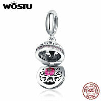 Wostu 925 Sterling Silver Dangle Charm Beads With Red AAA CZ Fit Bracelet Chain