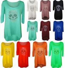 Ladies Fancy Party Wear Diamante Skull 3/4 Sleeve T Shirt Womens Hanky Hem Top