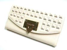 Porte-monnaie et portefeuilles pochettes beiges en cuir pour femme