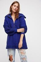 Free People NWT Size Medium Oversized $168 Blue Chunky Knit Pullover Sweater NEW