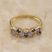 9ct Yellow Gold Sapphire and Tanzanite Ring Size K