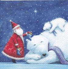 4 Servietten Ein Geschenk von Santa für den kleinen Eisbären