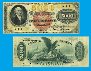 USA 5 000 dollars 1878.  UNC - Reproductions