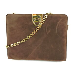 Ferragamo Clutch Bag  Dark Brown Suede Leather 1525630