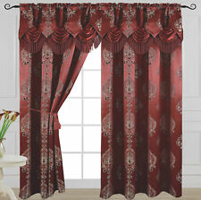 """Luxury Jacquard Curtain Panel with Attached Waterfall Valance 54"""" X 84"""" Alexa"""