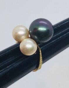 Vintage 18k Yellow Gold Black Tahitian Black Pearl 12mm Ring Size 6.5