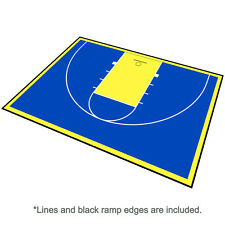 46ft x 30ft Outdoor Basketball Half Court Kit-Lines and Edges Includ-Blue/Yellow