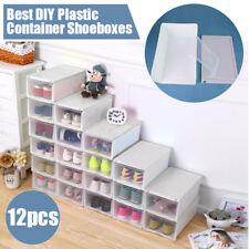 12x Transparent Clear Plastic Shoe Storage Box Stackable Container Box Organize