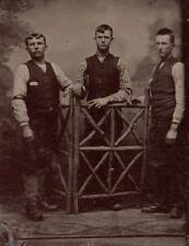 6th plate tintype three young men dapper dandies leaning on fence vests confiden