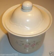 Pfaltzgraff Tea Rose Ivory Pink Flowers Cookie Flour Sugar Canister Jar @ cLOSeT