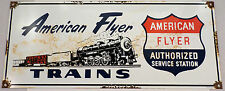 American Flyer Trains Authorized Service Station  Porcelain Sign Bar Garage