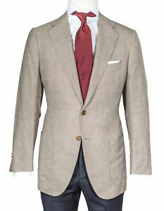 Cesare Attolini Jacket IN Beige Brown With Houndstooth IN Linen / Wool/Silk