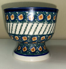 "New Polish Pottery Pedestal Ice Cream/Dessert/Candy Bowl/Dish ""Emerald Peacock�"