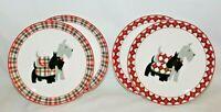 Grace Fine Porcelain Scottie Dogs Salad Plates Set of Four New
