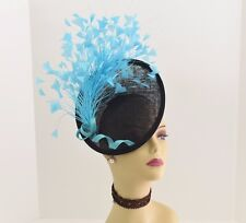 Kentucky Derby Wedding Sinamay feather Fascinator Cocktail 617 (Black/Turquoise)