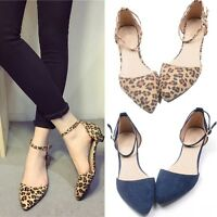 Womens Leopard Flats Buckle Low Heels Party Ballet Shoes Pointed Shoes Pumps New