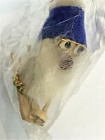 "Vintage Gnome Skier Ornament Wooden Troll Glasses Beard Christmas Figure 2"""