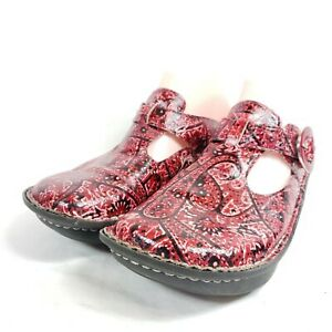 Alegria Donna Clogs Women's Size 6.5/36 Red Paisley