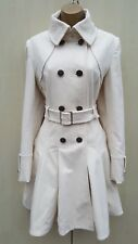 Size 10 UK Karen Millen Moleskin Ivory Celebrity Pleated Posh Trench Coat Jacket