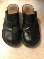 "NICOLE ""Marcy"" Black leather Mules Slides Slip on Shoes Clogs 8M"