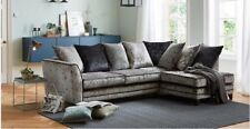 Dfs Steel Ice Crushed Velvet Corner Sofa Left Hand
