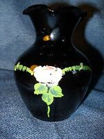 Vintage Black Amethyst Depression Glass Hand Painted Vase GVUC