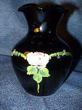 Vintage Depression Era Genuine Black Amethyst Glass Hand Painted Vase EUC