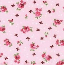 SMALL PINK FLOWERS & BOWS ON PINK BACKGROUND - 100% COTTON FABRIC FQ
