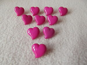 10 x HOT PINK HEART SHAPED BUTTONS size 15mm ~ FASHION/CRAFT