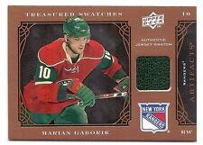 Marian Gaborik, 2009-10 UD Artifacts Teasured Swatches card, # TSR-MG, Rangers