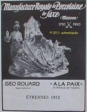 PUBLICITE A LA PAIX GEO ROUARD PORCELAINE DE SAXE MEISSEN DE 1911 FRENCH AD RARE