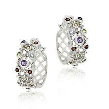 .925 Silver Multi Gem & Diamond Bubble Hoop Earrings