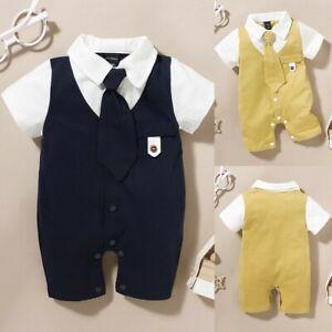 ❤️ Newborn Baby Boys Gentleman Short Sleeve Tops Romper Jumpsuit Clothes Outfit