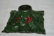 New listing Antique Snead Cast Iron Christmas Candle Holder Holly and Leaves